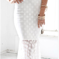 White Polka Dot Pencil Skirt