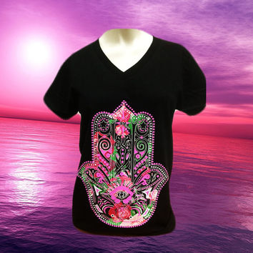 Abstract Colorful Hand Design Black V-Neck