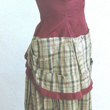 1930's Strapless Plaid Bustle Evening Dress XS XXS by tammym1972