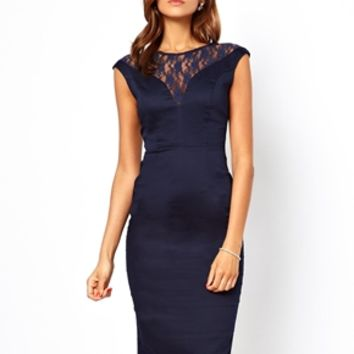 ASOS Lace Top Bardot Pencil Dress