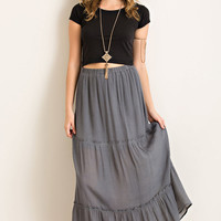 Gray Crinkle Tiered Skirt