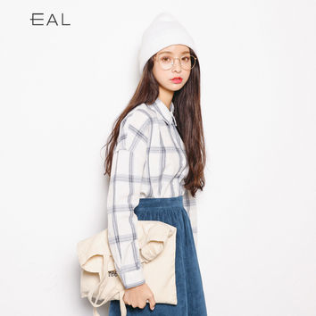 Korean Women's Fashion Winter Plaid Casual Ladies Shirt [9022916615]
