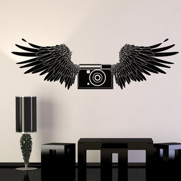 Vinyl Wall Decal Photo Camera Wings Photographer Room Art Stickers Unique Gift (ig4666)