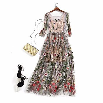 Bamskarosa Runway 2017 Evening Party Dresses Gorgeous Half Sleeves Sheer Mesh Embroidery Boho Bohemian Long Dress Brand Style