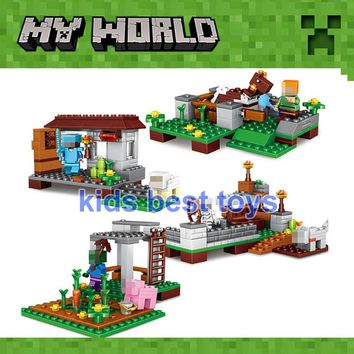 4 Sets My World 390pcs The Village Minecrafted Figures Building Brick Toys Gift