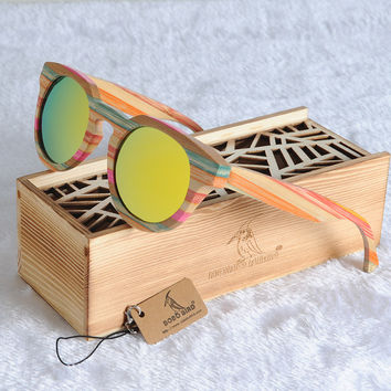 BOBO BIRD Brand Original Bamboo Round Sunglasses Women Fashion Luxury Unique Polarized Sun Glasses with Wood Gift Box