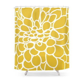 Society6 Mustard Yellow Modern Dahlia Flower Shower Curtains
