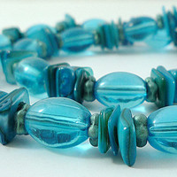 Long Blue Mother of Pearl and Czech Glass Necklace Long Aqua Shell Beaded Necklace