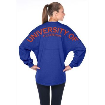 ESBON NCAA Florida Gators Women's Spirit Football Jersey Long Sleeve