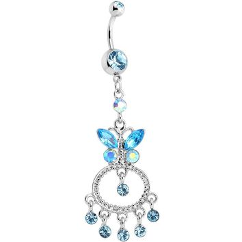 Aqua Gem Cicero Butterfly Chandelier Belly Ring