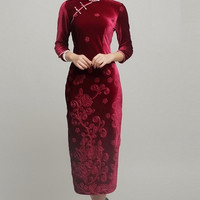 Velvet Sheath Floral Qipao Dress
