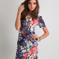 Multi Floral Dress - Navy Blue Floral Puffed Sleeve   UsTrendy