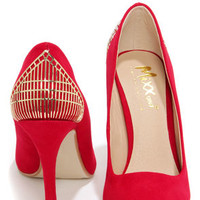 Mixx Shuz Eliza Red Kid Suede Gold Cage Pointed Pumps