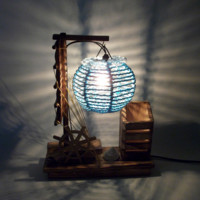 Creative Handmade Wooden Lamp with pen holder Bedside Night Light Home Decor Christmas Gift