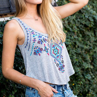 Wanderlust Embroidered Swingy Tank Top