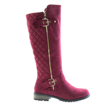 Mango23 Burgundy By Forever, calf high biker boots quilted panel stack heel threaded lug sole
