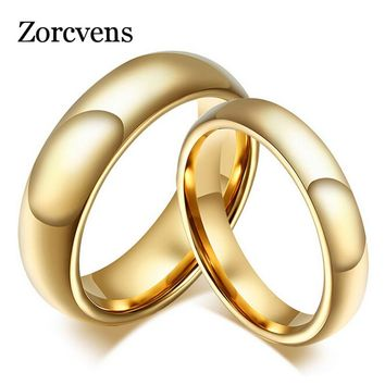 ZORCVENS Fashion 100% pure tungsten rings 4MM/6MM wide Gold-Color wedding rings for women and men jewelry