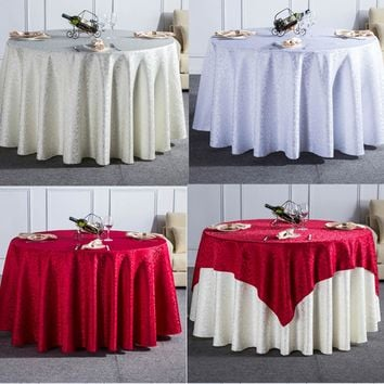 1PC Curl Grass Pattern Solid Round Tablecloth For Wedding Party Rectangular Dining Table Cloth For Hotel Home Decor Table Cover