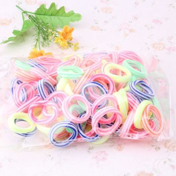 New Arrival 1 Pack=80 Pcs Women Colorful Elastic Hair Band Pets Headband Girls Hair Accessories Children Candy Lovely Scrunchy