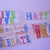 14 Rhinestone Sticker Sheets Dream, Celebrate, Happy, Live, Multi Colors