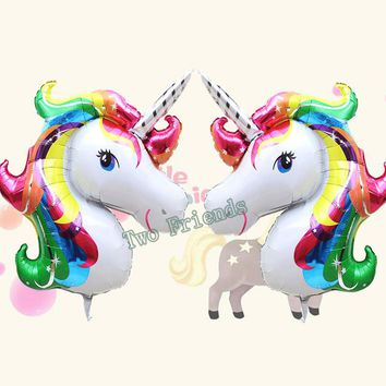 Rainbow Unicorn Aluminum Foil Balloons 10pcs fashion Cartoon Animal horse Ballons Helium Float globos birthday theme party decor
