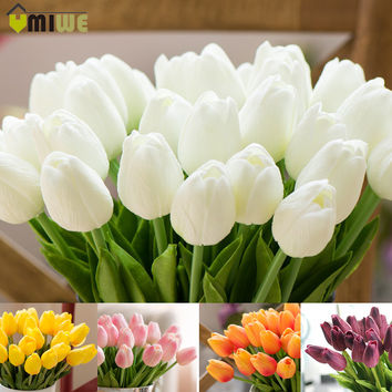 Umiwe 10/30pcs PU Fake Artificial Silk Tulips Flores Artificiales Bouquets Party Artificial Flowers For Home Wedding Decoration