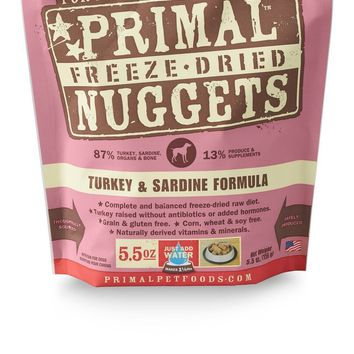 Primal Pet Foods Freeze Dried Food For Dogs  Turkey & Sardine  5.5 oz OR 14 oz