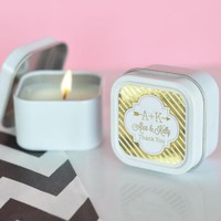 Personalized Metallic Foil Square Candle Tins - Wedding (Set of 24)