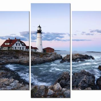Wieco Art Island 5 Panels Modern Giclee Canvas Print Stretched and Framed Canvas Wall Art for Home and Office Decor Seascape Picture Photo on Canvas P5RLA029