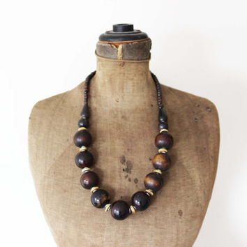 Chunky Wood Bead Necklace - Large Wooden Beaded Necklace