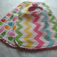 Baby Bibs Chevron Stripes Girl Owls.. on Luulla