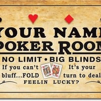 Personalized Custom Poker Room Casino Stretched Canvas Print Decor Sign
