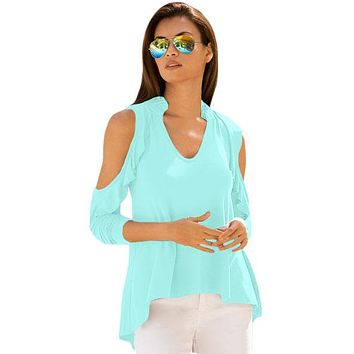 Green Cold Shoulder Ruffle Top