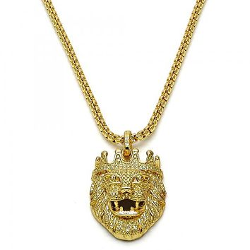 Gold Layered 04.242.0057.30 Fancy Necklace, Lion Design, Polished Finish, Gold Tone