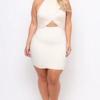 Plus Size Venetian Lace Flap Dress - Ivory