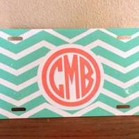 Chevron or Solid Color Monogrammed License Plate in Vine or Circle