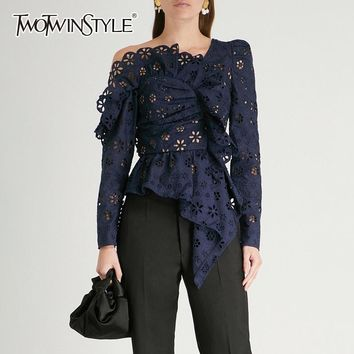 SHIRT Lace Shirts Blouse Female Long Sleeve Off Shoulder Hollow Out Tops Female Sexy Fashion