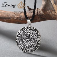 QIMING Viking Jewelry Antique Silver Vegvisir Charm Necklace Chokers Pendant Runic necklace Viking Compass pendant Man neckl