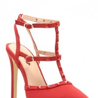 Red Faux Nubuck Ankle Strap Studded Pointed Toe Heels @ Cicihot Heel Shoes online store sales:Stiletto Heel Shoes,High Heel Pumps,Womens High Heel Shoes,Prom Shoes,Summer Shoes,Spring Shoes,Spool Heel,Womens Dress Shoes