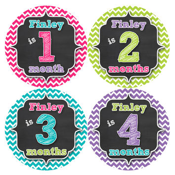Personalized Baby Girl Monthly Stickers Style #495