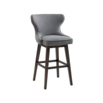 ANDREA DARK GREY FABRIC ANTIQUE GOLD NAIL-HEAD WITH DISTRESSED WOOD LEGS COUNTER STOOL