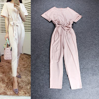 Beige Short Sleeves Elastic Waist Bow Pencil Cut Pants