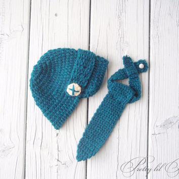 Dark teal newsboy hat with matching necktie by prettylilpieces