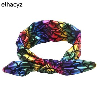 6pcs/lot 2018 Chic Hot-sale Kids Mermaid Bunny Elastic Headband High-quality Infantile Rabbit Ear Headwrap New Arrival Bandeau