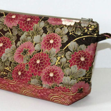 Quilted Makeup Bag, Wristlet, Clutch, Rose Chrysanthemums with Gold Accents