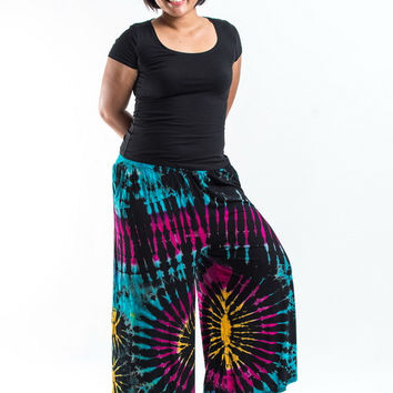 PLUS SIZE Wide Leg Palazzo Harem Pants Cotton Tie Dye Turquoise