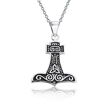 Celtic Thors Hammer Viking Knot Pendant Necklace 925 Sterling Silver