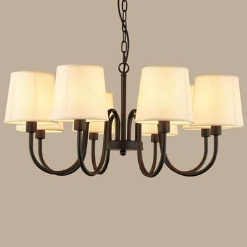 Mordern Nordic Retro Nordic iron fabric Light Chandelier Vintage Loft Antique Adjustable  E14 Art Ceiling Lamp Fixture Light