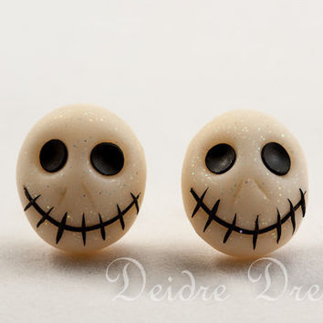 Skull Earrings, Halloween Earrings, Goth Earrings, Polymer Clay Earrings, Jack Skellington Nightmare Before Christmas, Halloween Jewelry