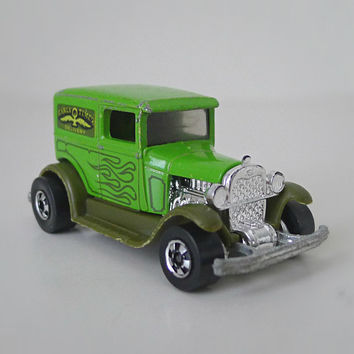 Hot Wheels Car, 1970s Toy, Early Times Ford Delivery Truck - green, olive, for men, for him, collectible, dad gift, retro toy